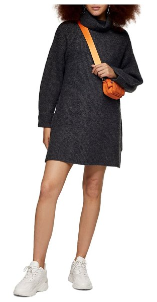 Topshop funnel neck sweater dress in charcoal