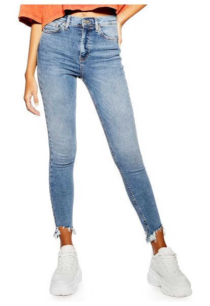 Topshop jamie moto jagged hem jeans in denim