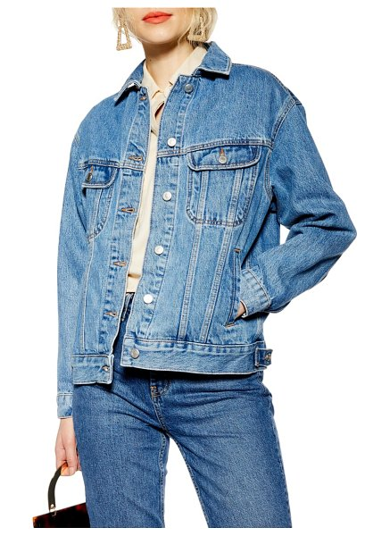 Topshop oversized denim jacket in mid denim - This oversized jean jacket is the perfect slouchy...