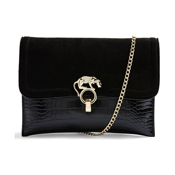 Topshop panther clutch in black