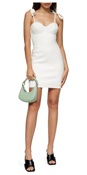 Topshop pleated bodice tie strap poplin minidress in cream