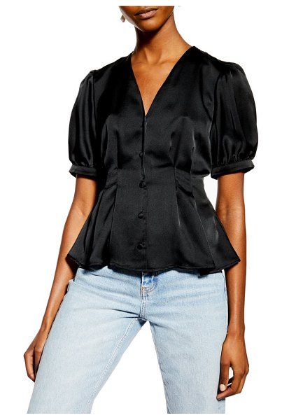 Topshop pleated button front satin top in black