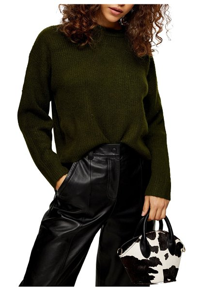 Topshop rib knit crop sweater in olive