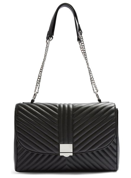 Topshop sofia quilted faux leather shoulder bag in black