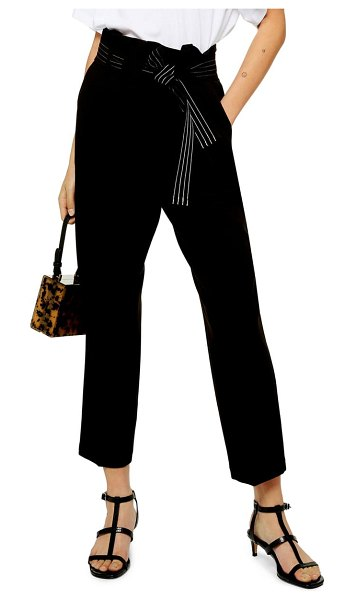 Topshop terri belted straight leg trousers in black