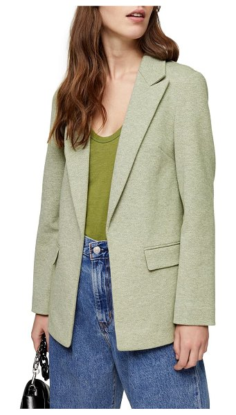Topshop marled open front blazer in olive