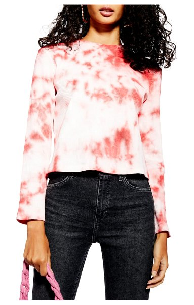 Topshop tie dye waffle shirt in coral