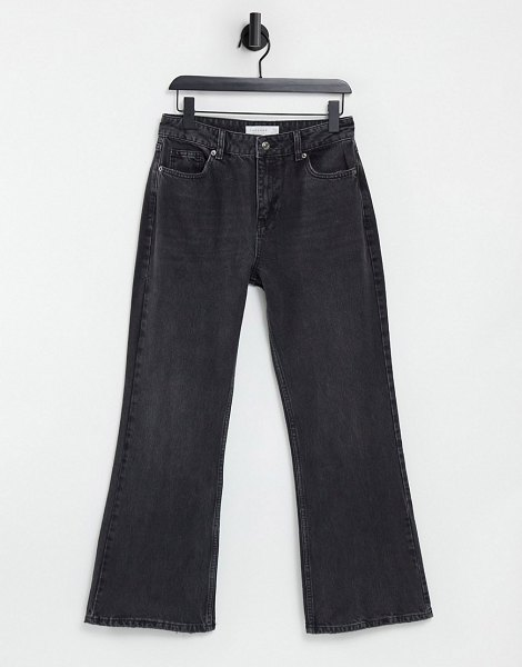 Topshop two 90s flare jean in washed black in black