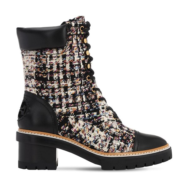 Tory Burch 60mm miller cotton blend tweed boots in black,white