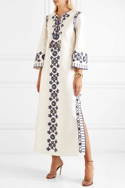 Tory Burch ariana embellished silk and cotton-blend maxi dress in ivory - Tory Burch's 'Ariana' dress is inspired by a gown that...