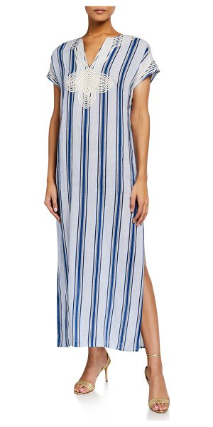 Tory Burch Awning Stripe Short-Sleeve Long Caftan in grand awning strp