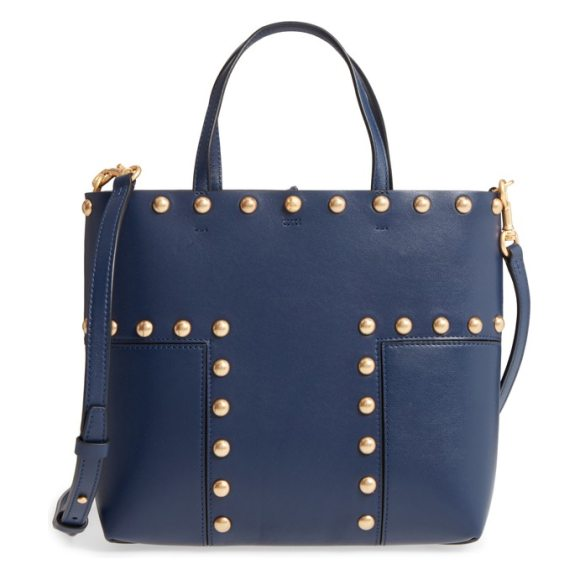 TORY BURCH block-t mini studded leather tote - Soft, finely grained leather distinguishes a modern,...