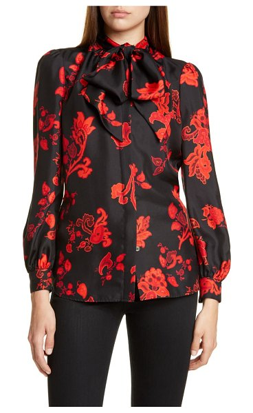 Tory Burch bow neck print silk blouse in black mountain paisley