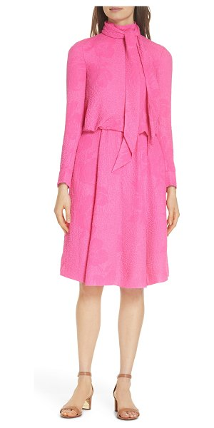 Tory Burch brielle textured silk dress in pink - A softly tied neck and tone-on-tone blossoms take this...