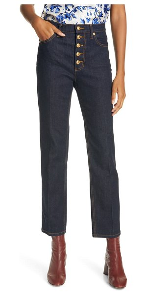 Tory Burch button fly crop jeans in resin rinse