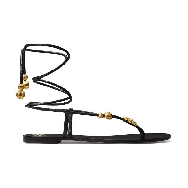 Tory Burch capri leather lace-up sandals in new ivory,perfect black