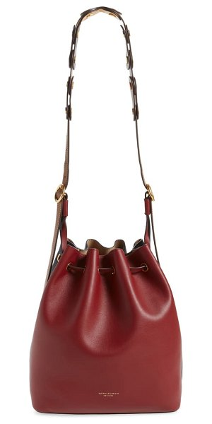 Tory Burch caroline leather hobo bag in blood red / midnight
