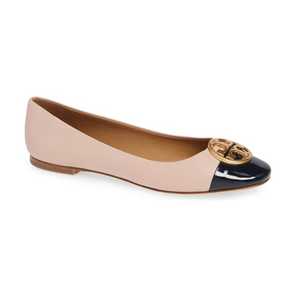 Tory Burch chelsea cap toe ballet flat in sea shell pink/ perfect navy - A double-T medallion puts a polished finishing touch on...