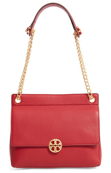 Tory Burch chelsea flap leather shoulder bag in red - Pebbled leather and a gleaming logo medallion make this...