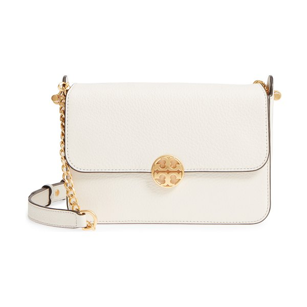 Tory Burch chelsea leather crossbody bag in new ivory - Pebbled leather and a gleaming logo medallion make this...