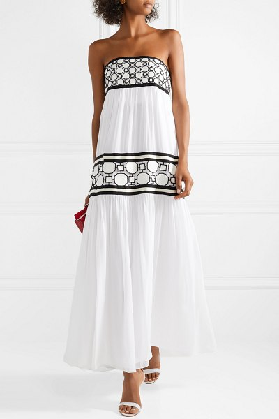 Tory Burch christie grosgrain and guipure lace-trimmed silk-georgette maxi dress in white - Tory Burch's Resort '18 collection is inspired by the...
