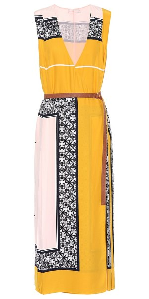 Tory Burch clarice silk wrap dress in multicoloured - Allow Tory Burch's Clarice dress to play with your...