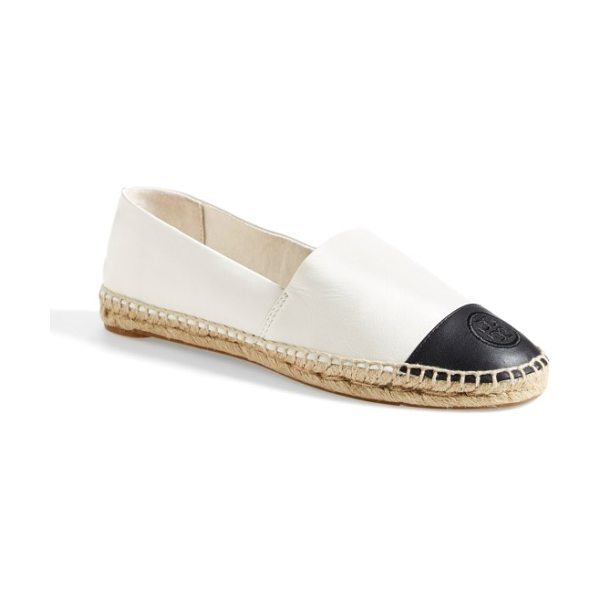 Tory Burch colorblock espadrille flat in ivory/ black