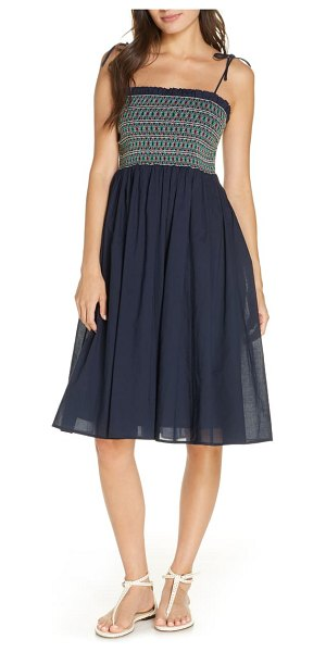Tory Burch convertible smocked cover-up dress in tory navy