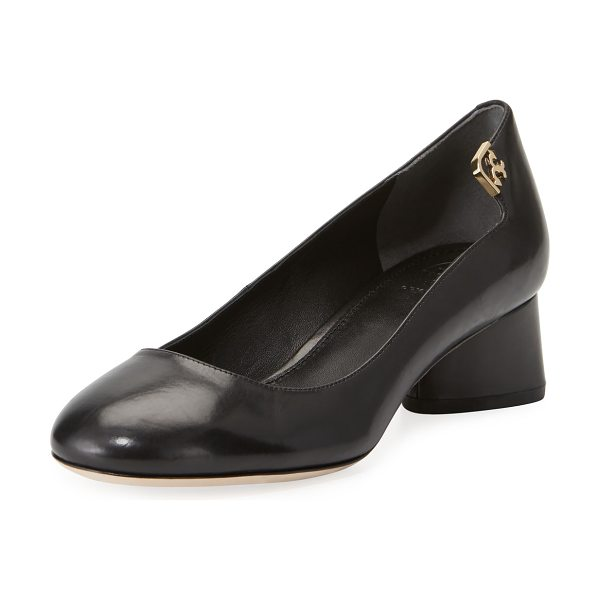 "Tory Burch Elizabeth Leather 40mm Pumps in black - Tory Burch smooth leather pump. 1.5"" covered block heel...."