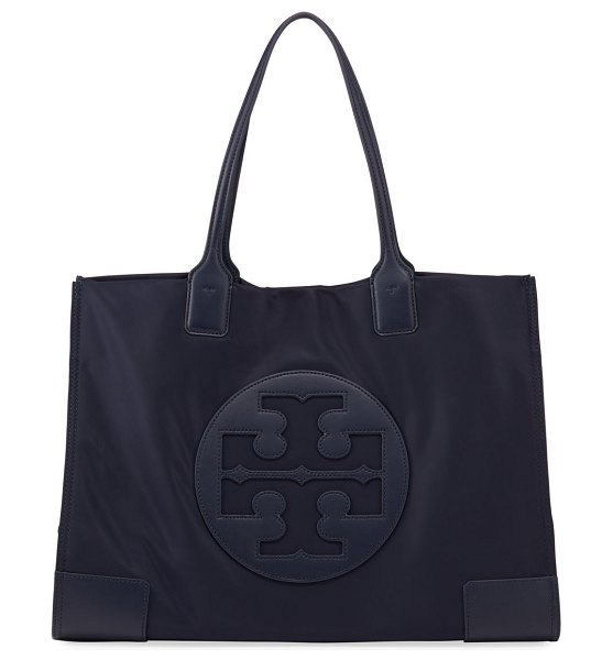 Tory Burch Ella Nylon Logo Tote Bag in navy