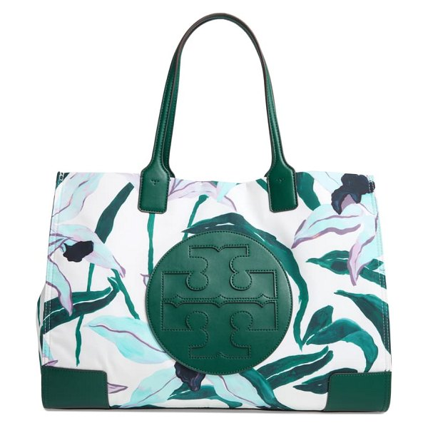 Tory Burch ella stripe nylon tote in desert bloom pigment