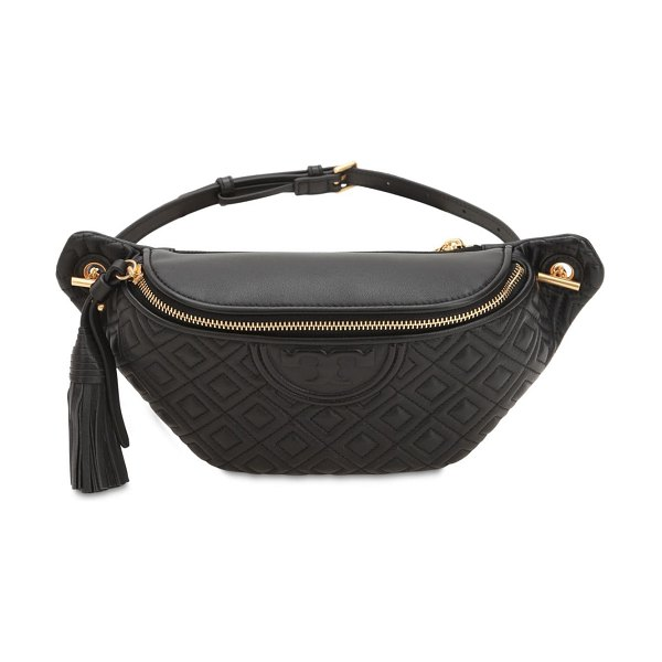 Tory Burch Embossed nappa leather belt bag in black