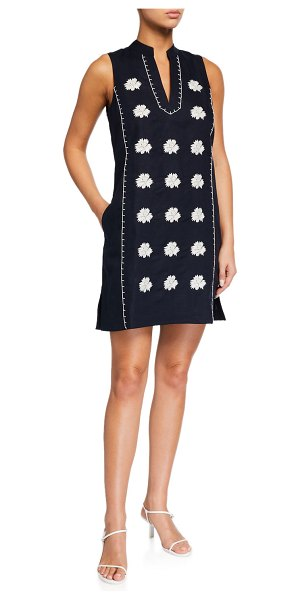 Tory Burch Embroidered Beach Dress with Pockets in tory navy