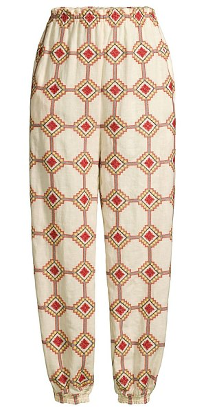 Tory Burch embroidered tapered pants in dark brown