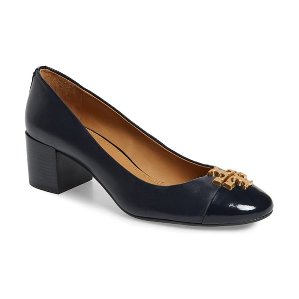Tory Burch everly cap toe pump in perfect navy/ perfect navy