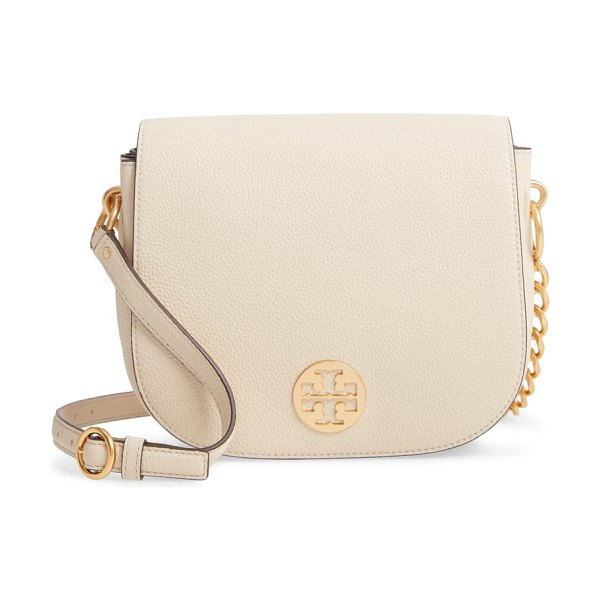 Tory Burch everly leather flap saddle bag in new cream