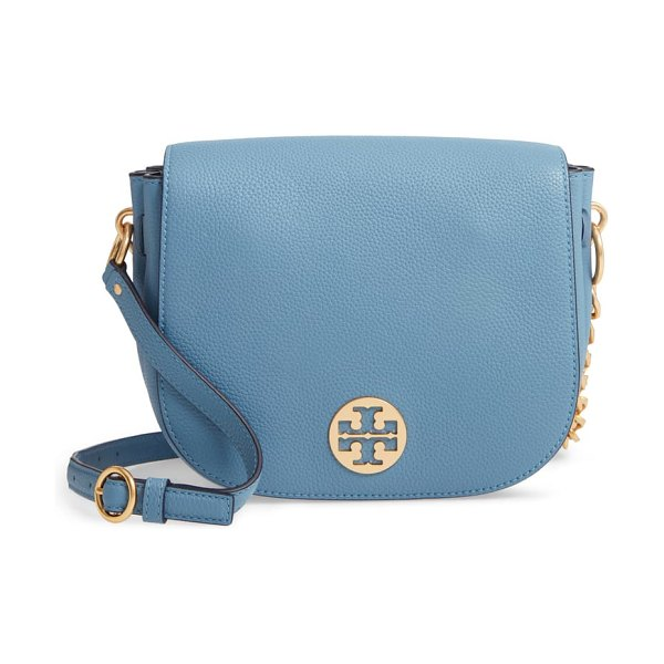 Tory Burch everly leather flap saddle bag in blue yonder