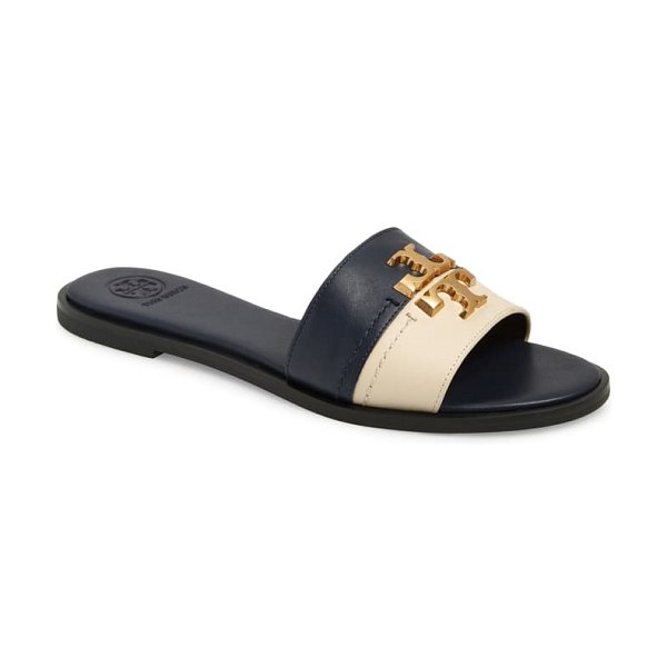 Tory Burch everly slide sandal in perfect navy/ new cream