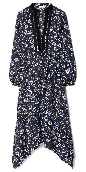 Tory Burch floral print puff long sleeve tunic dress in midnight teapot