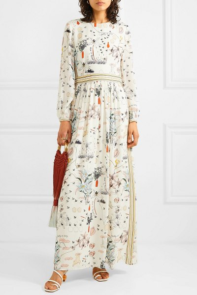 Tory Burch floral-print silk crepe de chine maxi dress in ivory