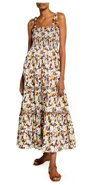 Tory Burch Floral-Print Tie-Shoulder Tiered Maxi Dress in reverie