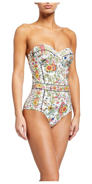 Tory Burch Floral-Print Underwire One-Piece Swimsuit in n ivry prmisd lnd