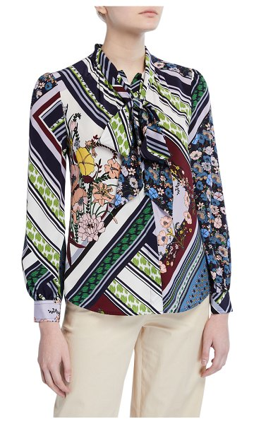 Tory Burch Flower Patchwork Bow-Neck Long-Sleeve Blouse in multi