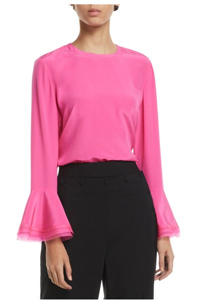 "Tory Burch Gabby Ruffle-Sleeve Silk Blouse in crazy pink - Tory Burch ""Gabby"" blouse in solid silk. Crew neckline;..."