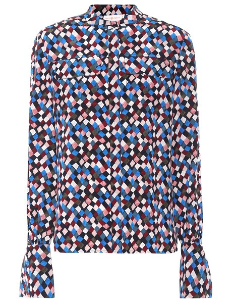 Tory Burch gianna silk blouse in multicoloured - Tory Burch throws an artful geometric pattern over a...