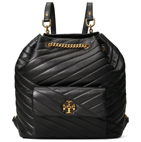 Tory Burch kira chevron quilted leather backpack in black