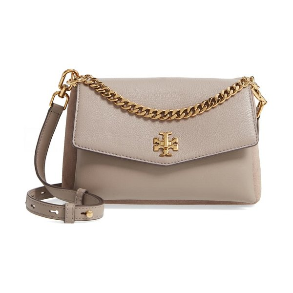 Tory Burch kira mixed leather crossbody bag in gray heron