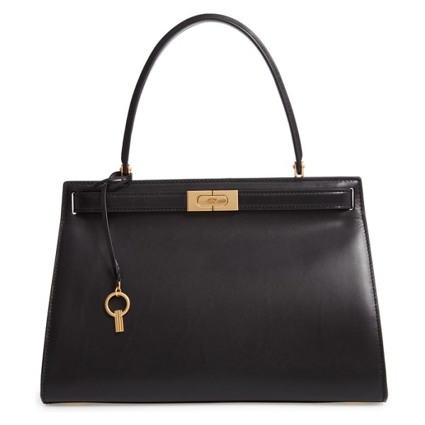 Tory Burch lee radziwill small leather satchel in black - Inspired by and named for style icon Lee Radziwill, this...