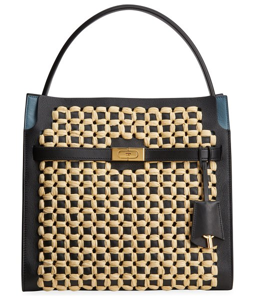 Tory Burch Lee Radziwill Woven Raffia Punch Double Satchel Bag in black natural