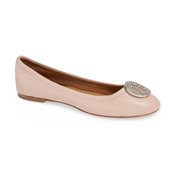 Tory Burch liana ballet flat in women~~shoes~~flats - A crystal-embellished double-T logo medallion tops the...
